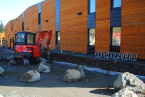 Final construction at the Nanaimo Aboriginal Centre Passive House.
